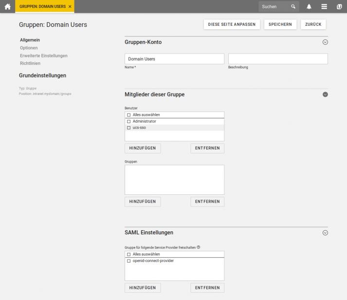 Screenshot: SSO für Gruppen in UCS