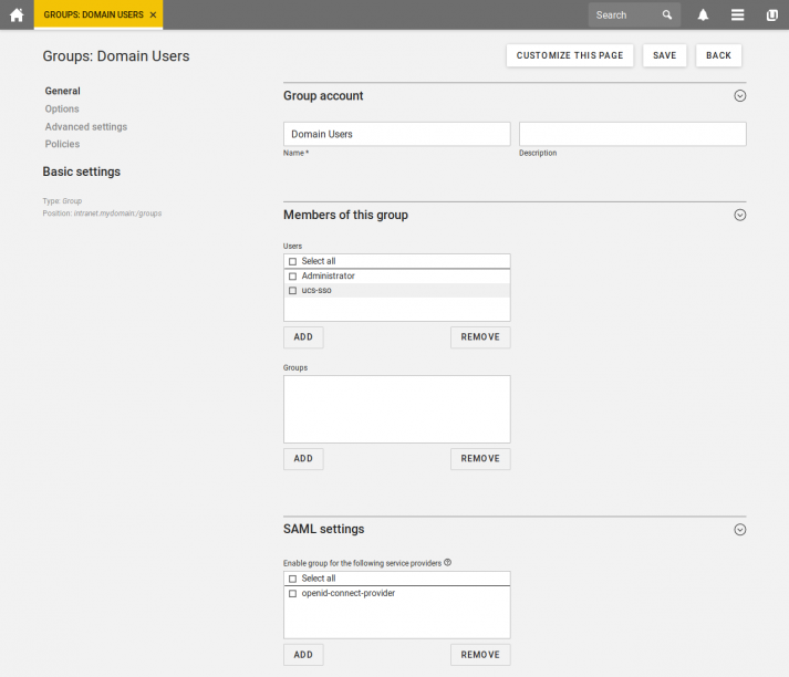 Screenshot: SSO for groups in UCS