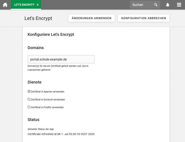 "Screenshot: UCS App ""LetsEncrypt"" im Univention App Center"