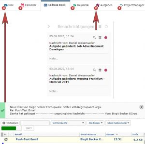 Screenshot of the notifications visible in the Egroupware user interface