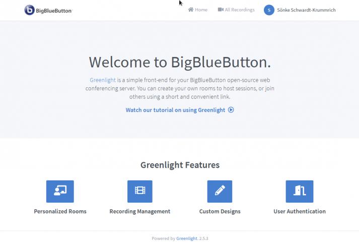 Screenshot: BigBlueButton Welcome Screen