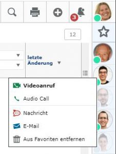 View of the communication options in Egroupware 20.1