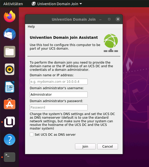 Screenshot: Univention Domain Join Assistant Interface