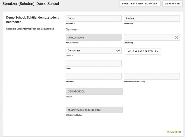 Screenshot der Userdatenanzeige bei UCS@School