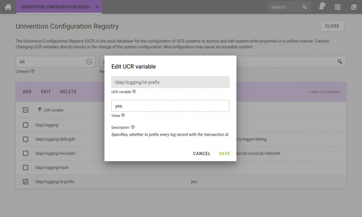 Screenshot of the Univention Configuration Registry with opened UCR variable editor
