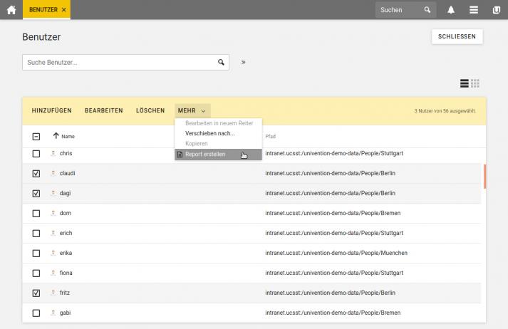 Screenshot zur Erstellung von Reports mit der Univention Management Console
