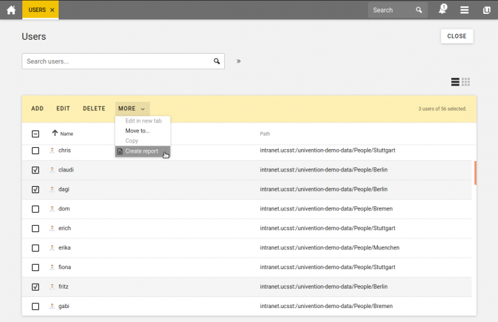 Screenshot showing the creation of reportings via the Univention Management Console