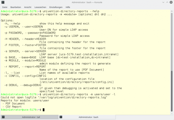 Screenshot of the command line during the creation of a Directory Report for UCS
