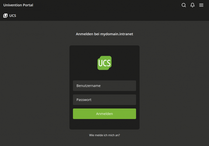 Ansicht des UCS 5.0 Login Interface