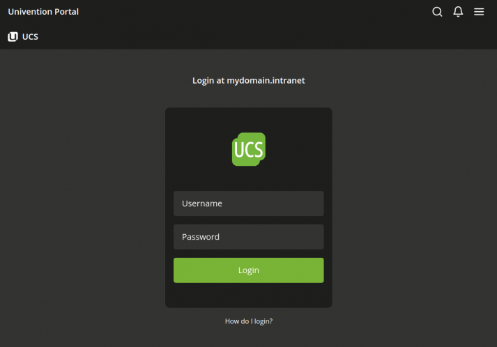 Screenshot showing the UCS 5.0 login interface