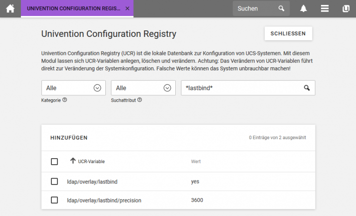 Screenshot der Univention Configuration Registry (UCR)