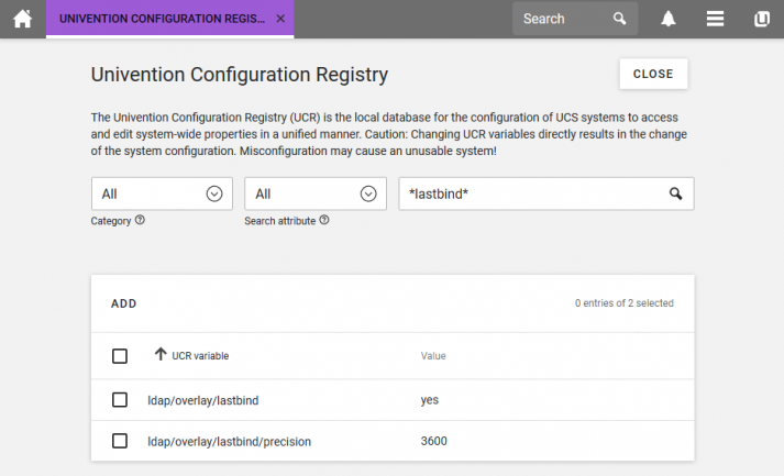 Screenshot of the Univention Configuration Registry (UCR)