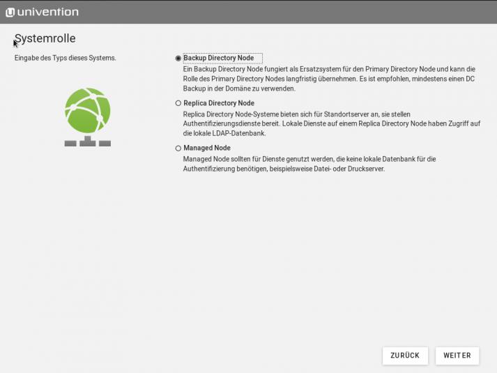 Screenshot des Installationsbildschirms der Systemrollen in UCS 5.0