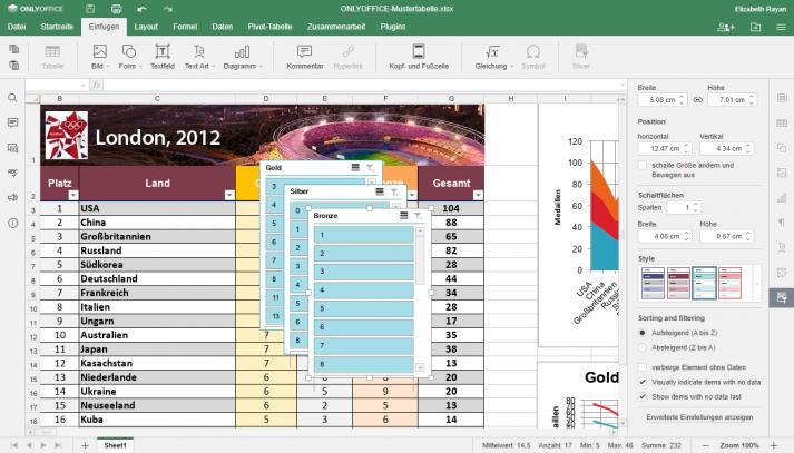 Screenshot der Anwendung von Datenschnitten auf formatierte Tabellen in ONLYOFFICE