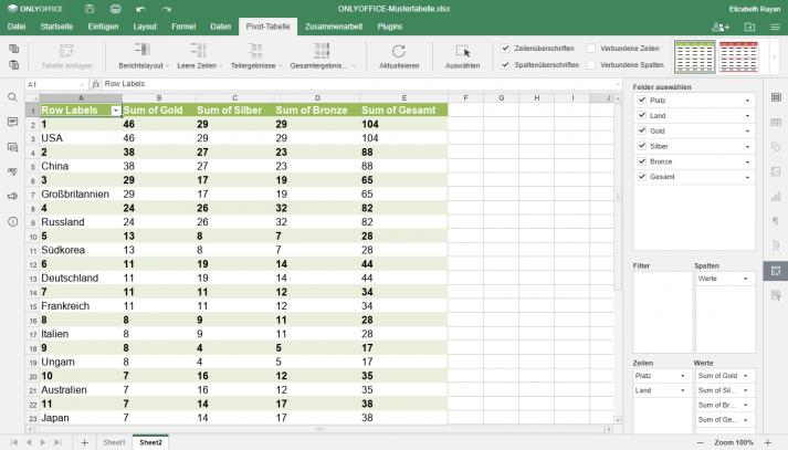 Ansicht einer mit ONLYOFFICE erstellten Pivot-Tabelle