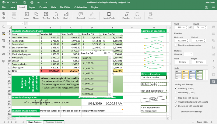 Screenshot showing the application of data slices in formatted tables in ONLYOFFICE