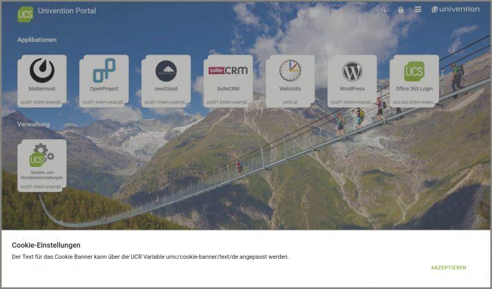 Screenshot zur Cookiehinweis-Modifikation in UCS 4.4-7