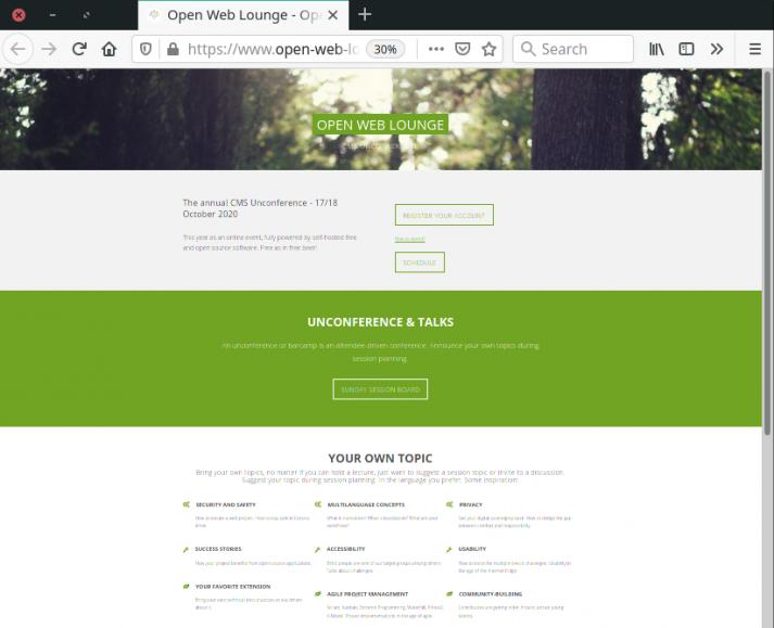 Screenshot of the Open Web Lounge website