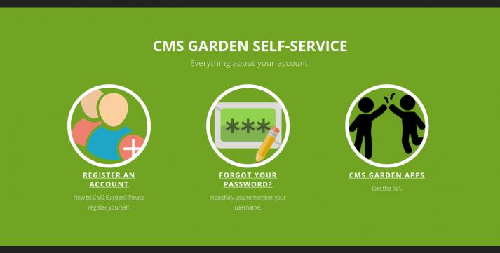 Screenshot of the self-service portal of CMS Garden