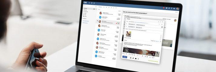 Bild vom OX User Interface auf einem Laptop