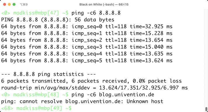 Screenshot eines Ping-Kommandos mit IP-Adresse als Ziel
