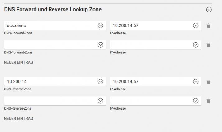 Screenshot der Forward- und Reverse-Lookup-Einstellungen in UCS