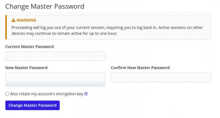Screenshot of the chaning option of the master password in Bitwarden