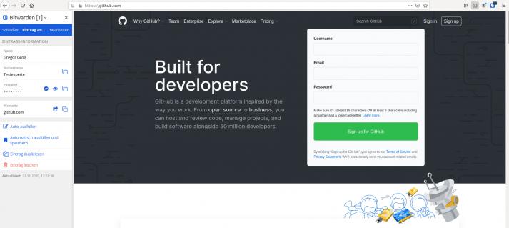 Screenshot zeigt eine in Firefox aufgerufene Webseite mit der Bitwarden-Erweiterung