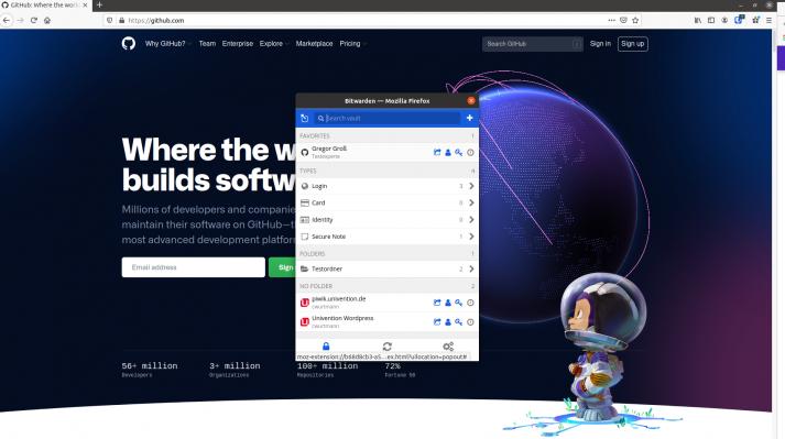 Bitwarden browser extension screenshot