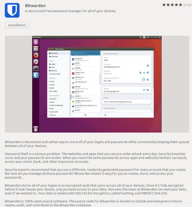 Screenshot der Bitwarden-App als Linux-Download