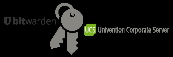 Logos von Bitwarden und UCS mit einem Schlüsselbund in der Mitte