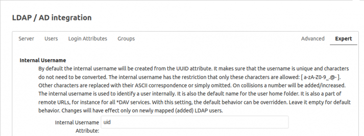 "Screenshot der ""Experteneinstellungen"" in der LDAP-Integration"