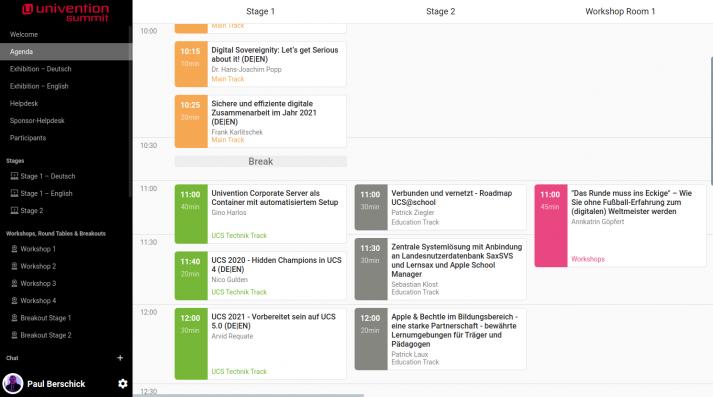 Screenshot zeigt einen Auschnitt des Zeitplans sowie die Navigation zwischen den Stages undanderen virtuellen Räumen beim Univention Summit 2021