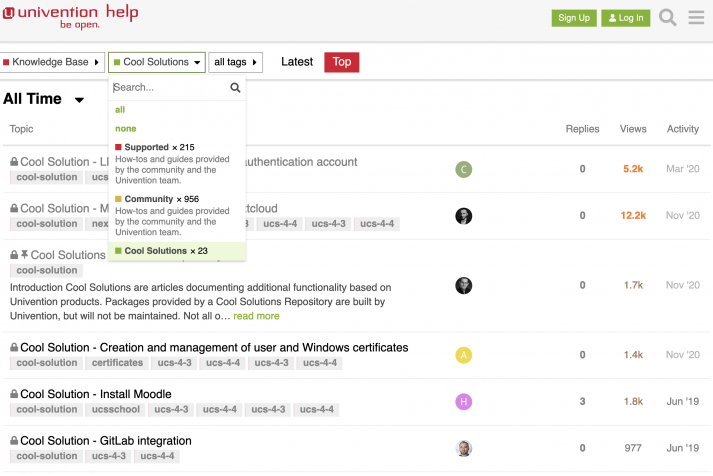 Screenshot showing Univention's Cool Dolution forum