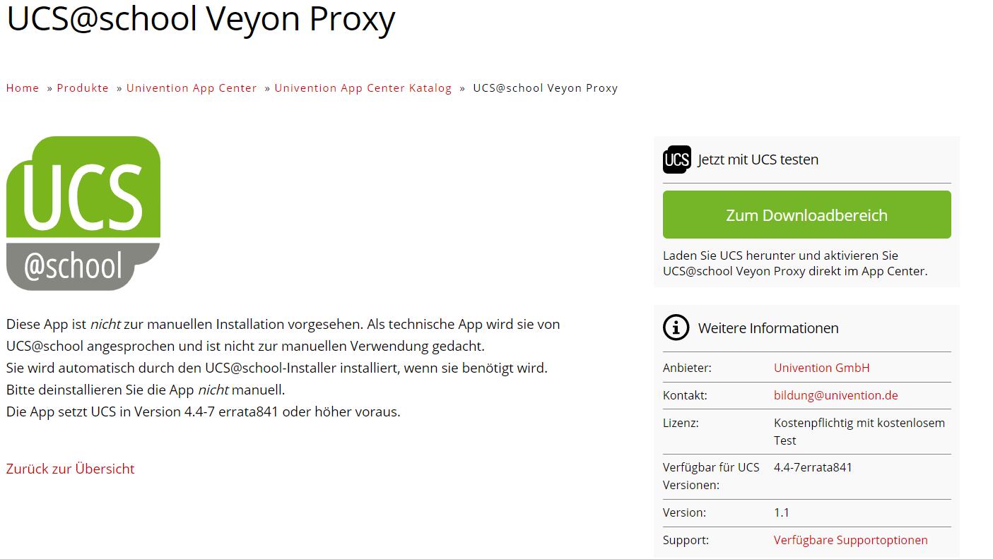 Ansicht Veyon Proxy im Univention App Center Katalog