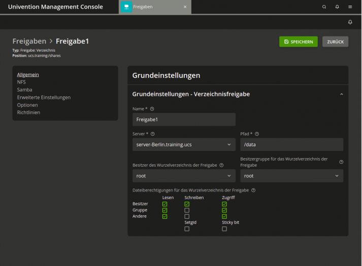 Univention Management Console: Samba-Freigaben