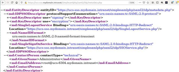 Screenshot Single Sign-on SAML