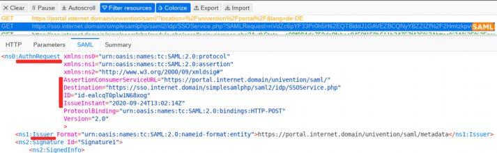 Screenshot Single Sign-on SAML tracer