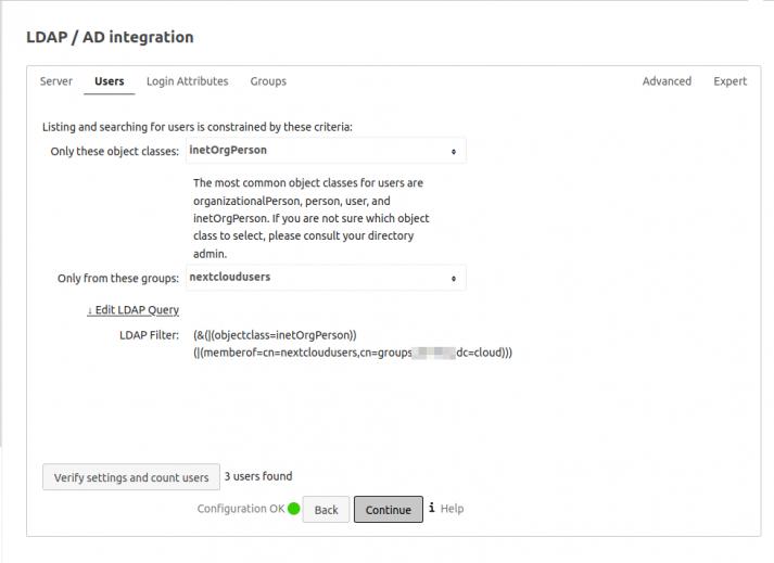 Nextcloud-UCS: LDAP Integration von Nutzern